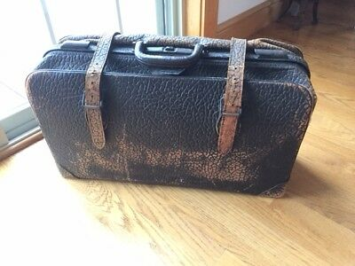 """Large vintage satchel """"doctor bag"""" style suitcase heavy leather cowhide"""
