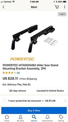 POWERTEC MT4000MBA Miter Saw Stand Mounting Bracket Assembly 2PK
