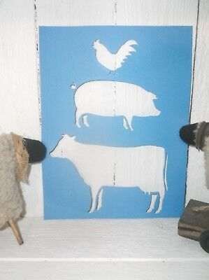 Primitive ROOSTER PIG COW farm stacked cardstock stencil farmhouse vintage old