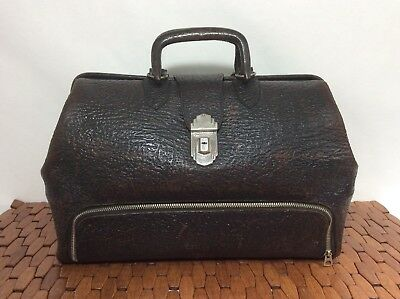 Antique Brown Leather Doctor Bag w Drawer & Opthamology Instruments *Provenance*