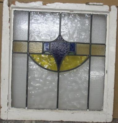 "MID SIZED OLD ENGLISH LEADED STAINED GLASS WINDOW Pretty Abstract 23.75"" x 25"""