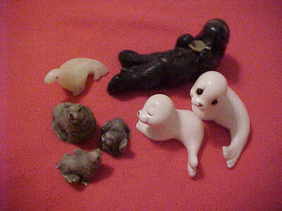 SEALS and SEA LIONS Figurines (7)  - Carved / Wax / Ceramic / Resin