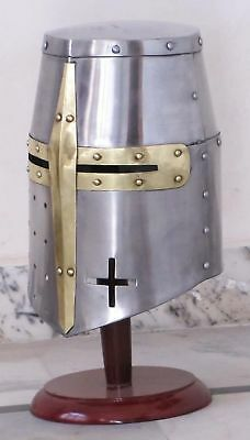 Medieval Templar Crusader Knight Armor Helmet With Wooden Stand Greek Spa... New