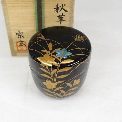 F834: Japanese lacquer ware tea container of very good MAKIE with signed box