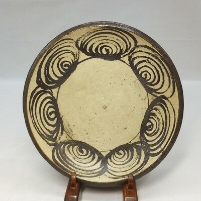 F804: Real old Japanese SETO pottery plate Popular UMANOME-ZARA