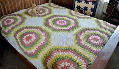 Antique 19th Century Hand Stitched Touching Star Quilt