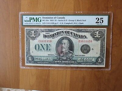 1923 Dominion of Canada $1 PMG VF25 DC-250 Series E-F Black Seal