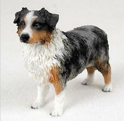 AUSTRALIAN SHEPHERD AUSSIE (blue) DOG Figurine Statue Hand Painted Resin
