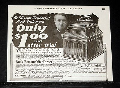 1919 Old Magazine Print Ad, Babson, Mr. Edison's Wonderful Amberola Phonograph!