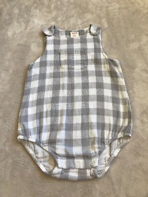 Baby Seed Grey & White Checked Romper