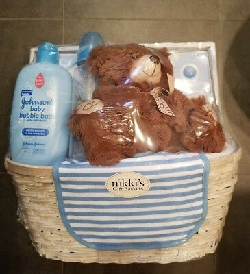 New Arrival Blue Baby Boy Gift Basket by Nikki's Gift Baskets New MSRP $62.99