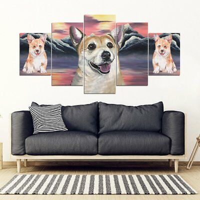 Pembroke Welsh Corgi On Mountain Print-5 Piece Framed Canvas- Free Shipping