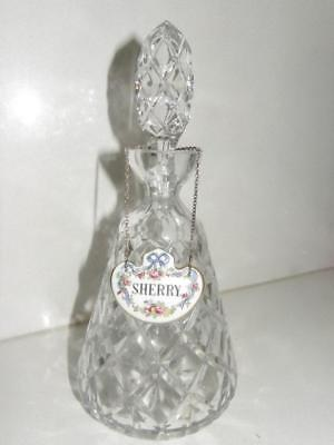 Beautiful Crystal Cut Glass Small Decanter - Sherry Label Included - England