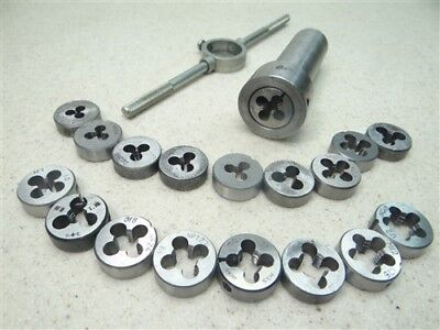 """Lot Of 18 Assorted 1"""" Od Hss Round Dies #4-36Ns To 1/2""""-13Nc W/ Holder & Wrench"""