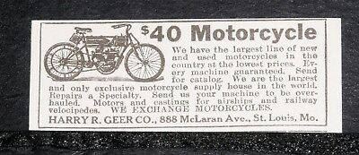1920 Old Magazine Print Ad, Harry Geer Motorcycles, Airship, Velocipedes Motors!