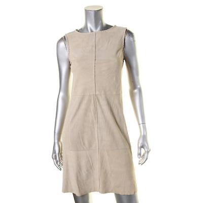 Vince 2643 Womens Tan Lambskin Leather Whip Stitch Trim Party Dress 2 BHFO