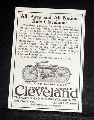1920 Old Magazine Print Ad, Cleveland Motorcycle, All Ages & All Nations Ride!