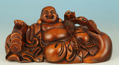 Chinese Boxwood Collection Handmade Carved Feng Shui Monk Statue