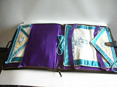 1960s Masonic Virginia Grand Master  Aprons & Leather Case Manchester Lodge 14