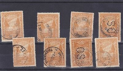 8 Tasmania 4d Pictorial stamps. 2 OS perfin.