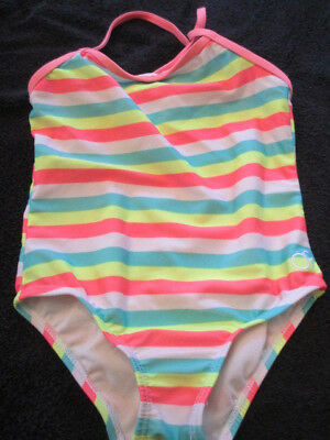 girls swim OP pastel stripes 3T swimwear 1 piece yellow white pink Ocean Pacific