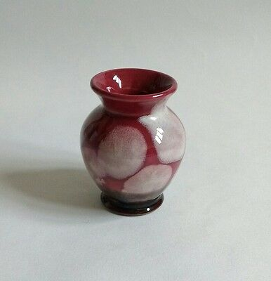 Vintage mid century small cranberry red art pottery vase Germany
