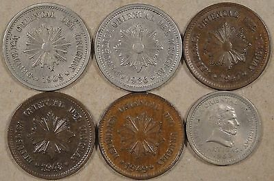 Uruguay 6 Two Centesimos 1909,36,47,48,49,+53 Better Grade-Unc As Pictured