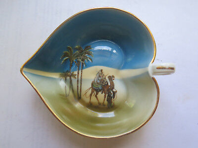 NORITAKE CHINA HEART DISH CAMEL & PALM TREES DESERT SCENE c1920s BLUE COLOURS