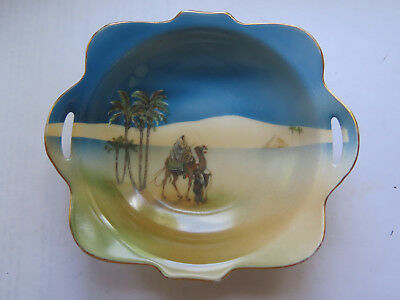 NORITAKE CHINA BOWL or DISH CAMEL & PALM TREES DESERT SCENE c1920s BLUE COLOURS