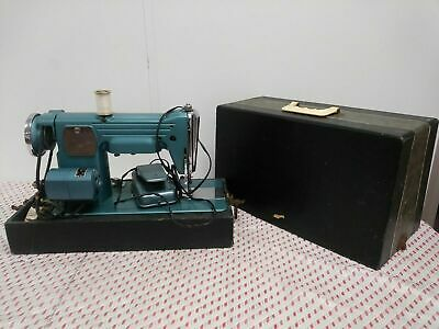 1950's Vintage Premier/Deluxe Turquoise Blue Sewing Machine W/Case/Foot Switch