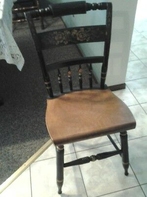 2 HITCHCOCK Chairs black w/maple seats, dining room Early American/Colonial: Gd!