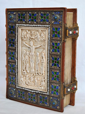 Amazing Antique French 18Th Bible Silver Enamel Pearls Jems Bound Christ Scene