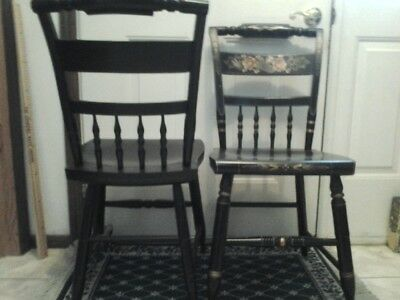 4 HITCHCOCK Chairs black w/black seats, dining room Early American/Colonial: VG!