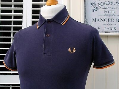 Fred Perry M3600 Purple Twin Tipped Slim Polo - XS - Mod Ska Scooter Workwear