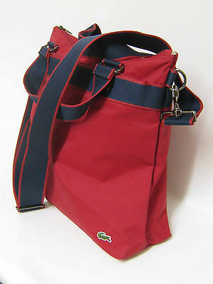 b44b1fdb862f LACOSTE Womens Ladies Shoulder Vertical TOTE Bag New City Casual13 Red  AUTHENTIC