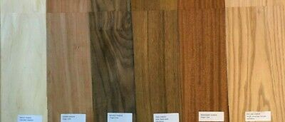 Domestic Wood Veneer Pack Maple Oak Walnut Mahogany Cherry Birch Teak 20 pieces