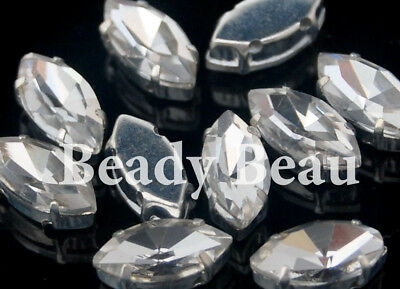 Clear Glass Crystal Navette/Marquis Rhinestone 2 Sizes Sew On Gold Silver
