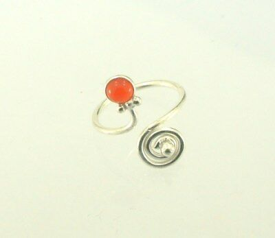 925 Silver Plated Carnelian Gemstone Ring Jewelry Sz 7US With Adjustable LG5-7