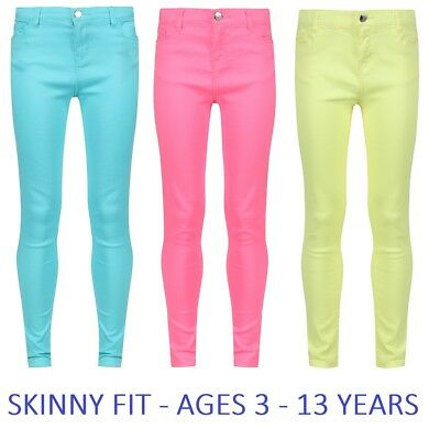 Girls Plain Skinny Jeans Trousers Turquoise Blue Yellow Pink Age 3 4 5 6 7 8 9