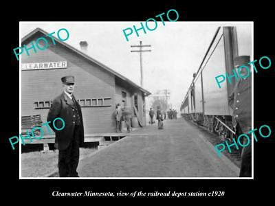 OLD LARGE HISTORIC PHOTO OF CLEARWATER MINNESOTA, RAILROAD DEPOT STATION c1920