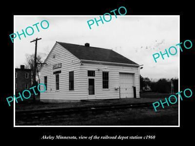 OLD LARGE HISTORIC PHOTO OF AKELEY MINNESOTA, THE RAILROAD DEPOT STATION c1960