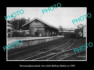 OLD LARGE HISTORIC PHOTO OF TOOWONG QUEENSLAND, THE RAILROAD STATION c1910
