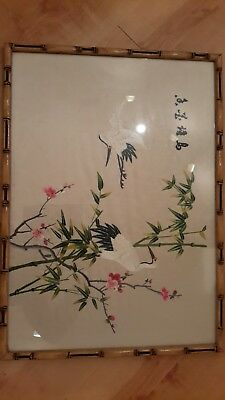 Vintage 60s Oriental chinese Embroidery silk Bamboo Framed Picture