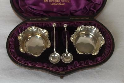 An Exquisite Cased Pair Of Solid Silver Victorian Salts & Matching Spoons 1886.