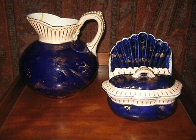 Antique Ott & Brewer Cobalt Pitcher And Soap Dish Trenton Nj Usa C1870 2 Items