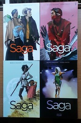 Saga ~ Volume (Vol) 1 to 4 ~ Image Comics ~ Brian K Vaughan & Fiona Staples