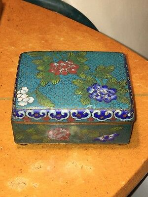 Antique Chinese Cloisonne Box Turquoise Blue