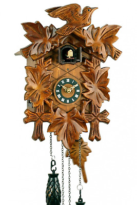 'Uhren-Park Eble' - Black Forest Cuckoo Clock - 5 Carved Leaves - Battery Operat