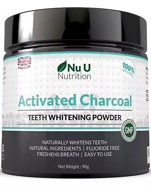 Nu U Nutrition Activated Charcoal Natural Teeth Whitening Powder 90g - Sealed
