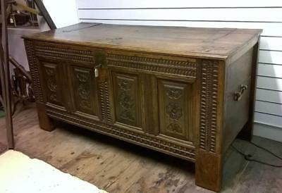 1776 Large Carved Oak Marriage Chest